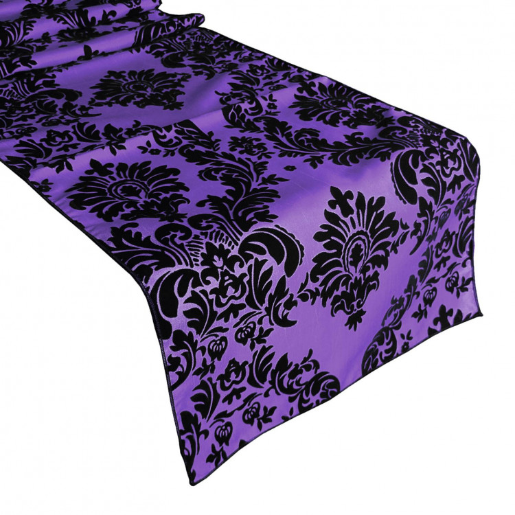 Black/Purple Damask Taffeta Runner