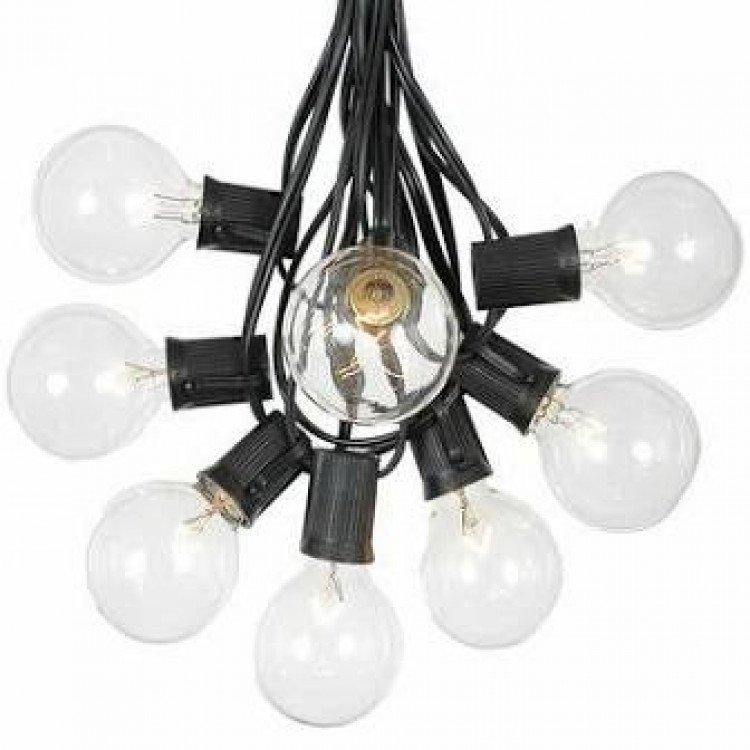 Glass Bulb Bistro Lights Black 50ft