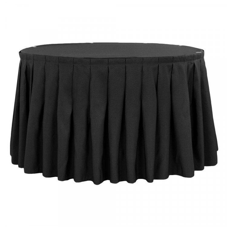 Black Polyester Box Pleat Table Skirt