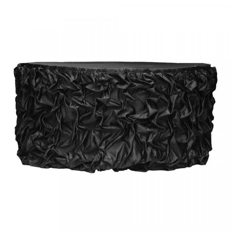 Black Satin Princess Table Skirt, 15'