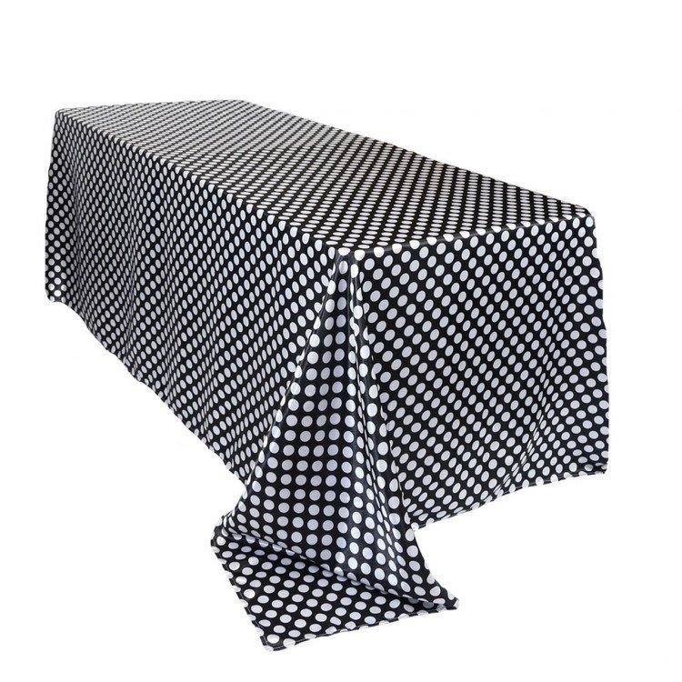 Black/White Polka Dot Satin Floor Length Rectangle