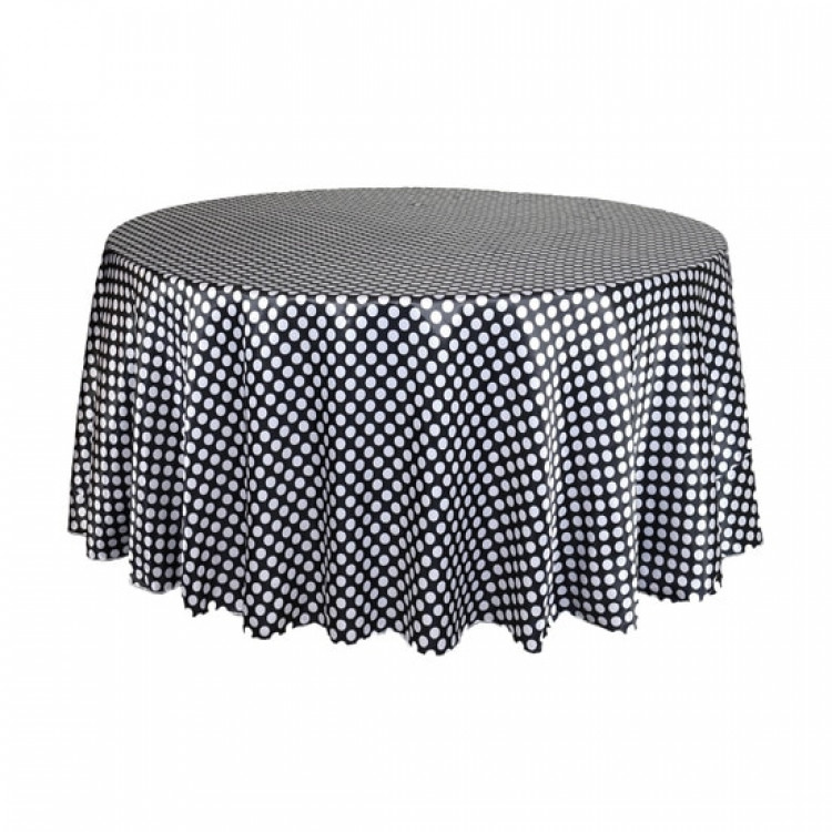 Black/White Polka Dot Satin Floor Length Round