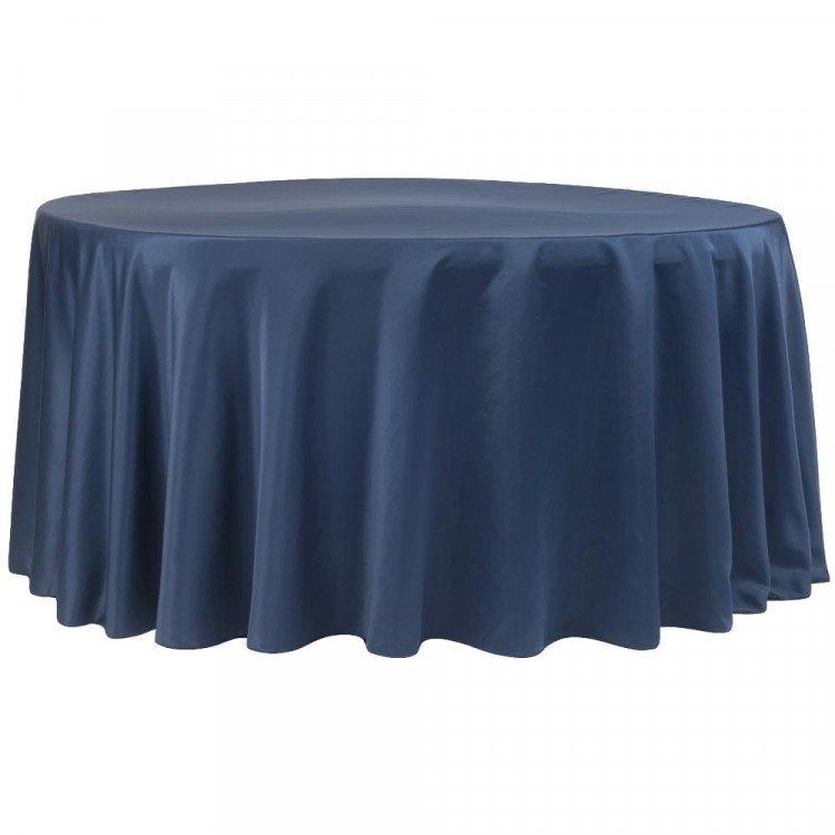 Blue, Navy Matte Satin Floor Length Round