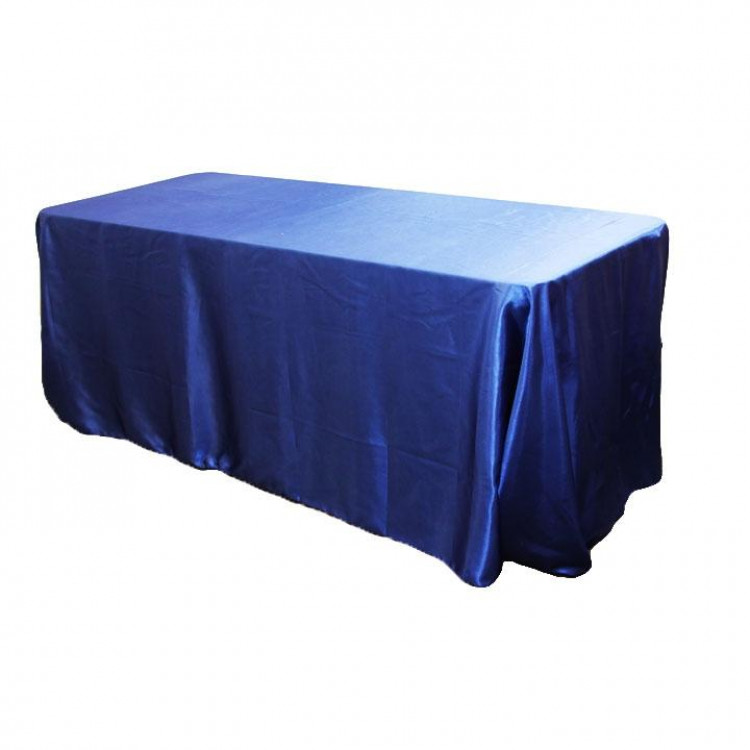 Blue, Navy Matte Satin Floor Length Rectangle
