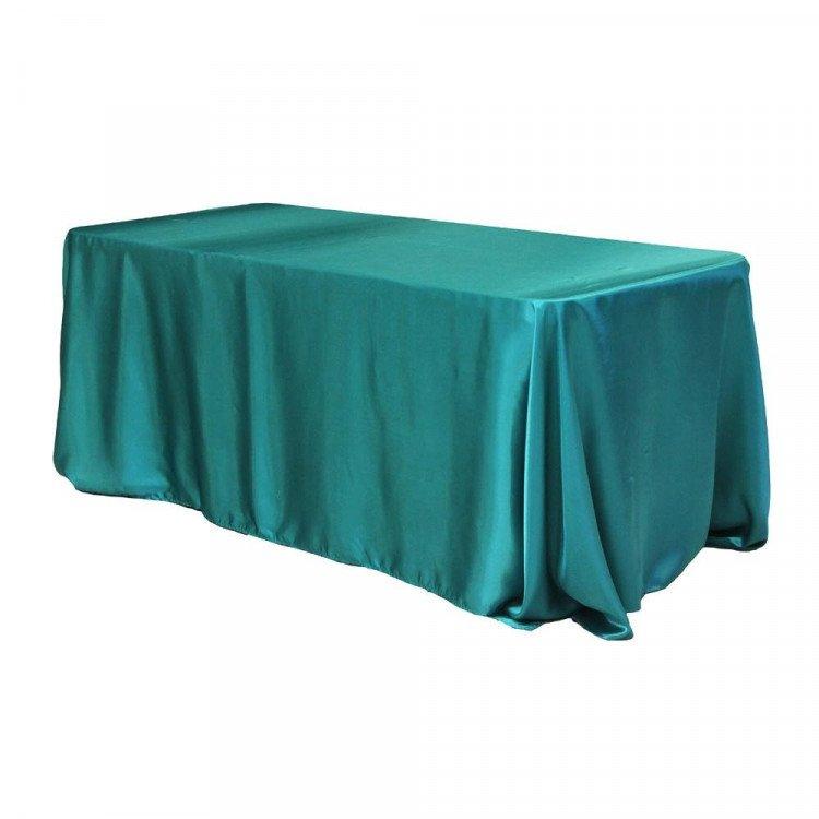 Blue, Turquoise Taffeta Floor Length Rectangle