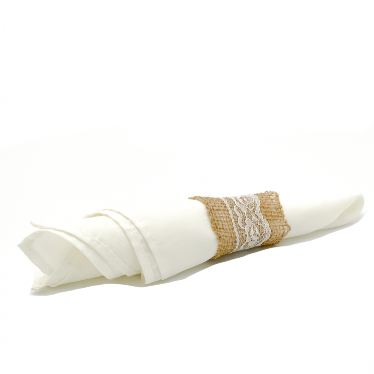Burlap with Lace Napkin Ring