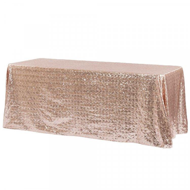 Pink, Blush Sequin Floor Length Rectangle