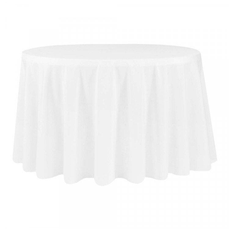 White, Polyester Floor Length Round