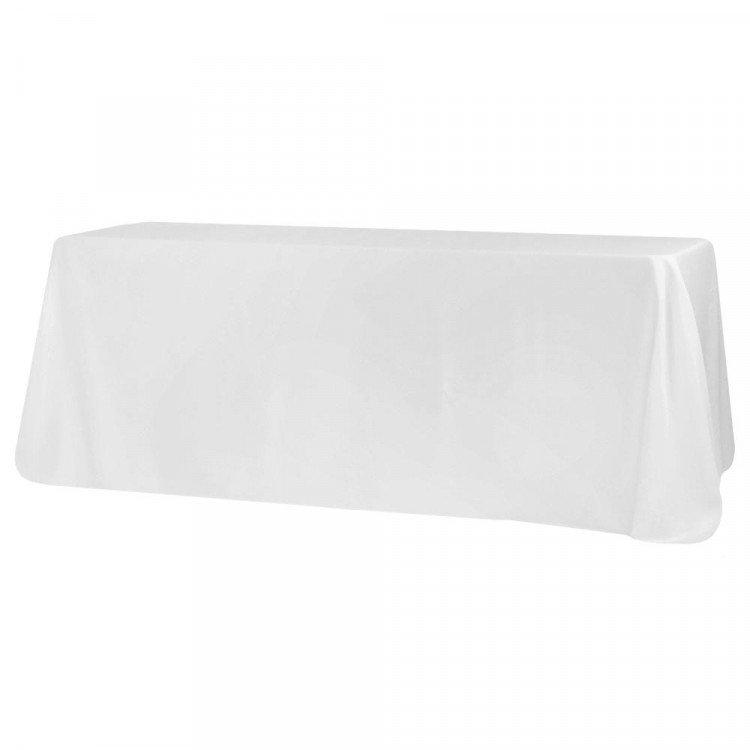 White, Polyester Floor Length Rectangle