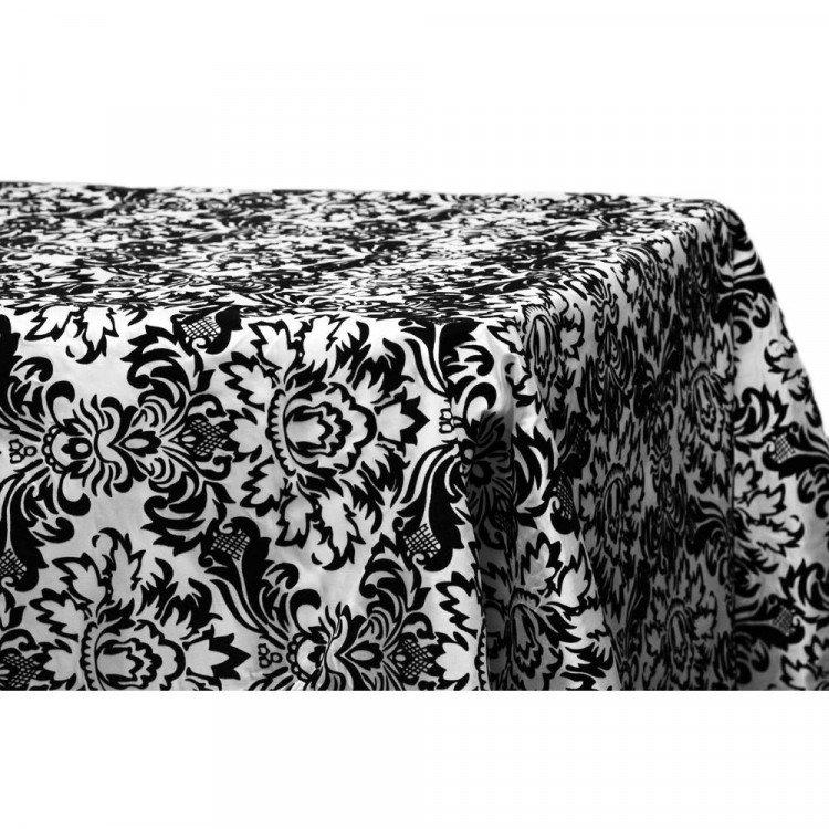 Black/White, Damask Floor Length Rectangle