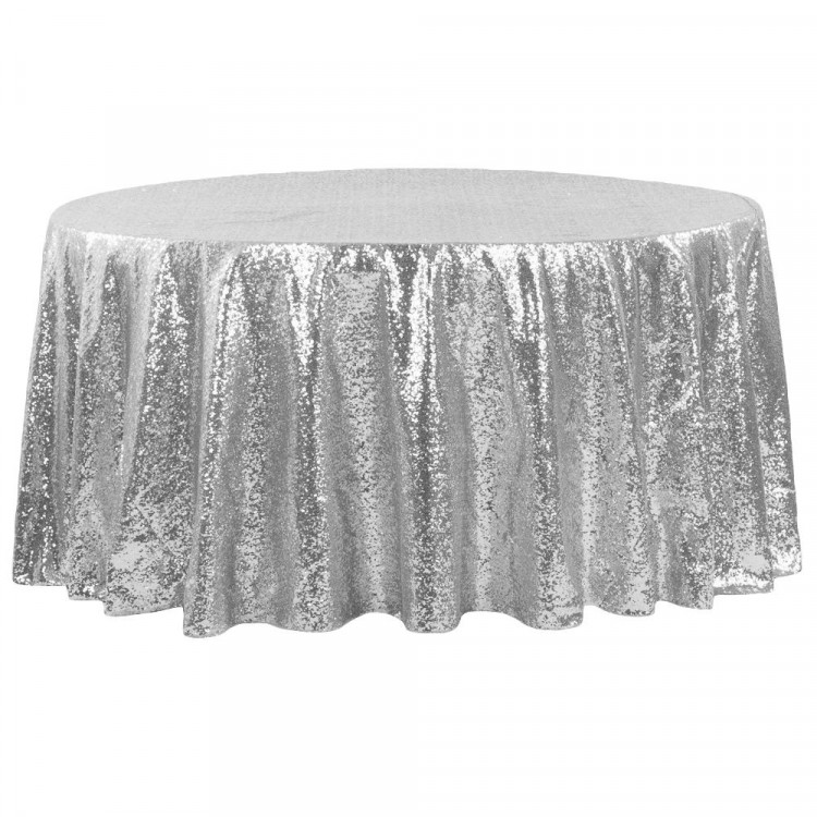 Silver, Sequin Floor Length Round