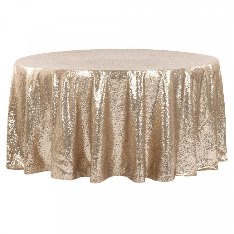 Champagne, Sequin Floor Length Round