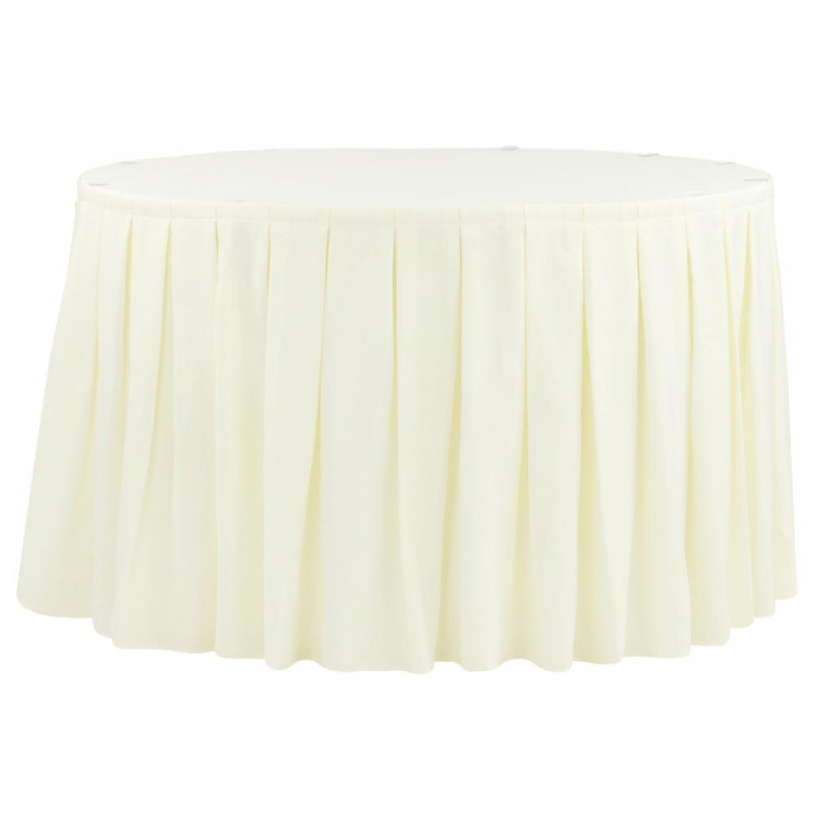 Ivory Polyester Box Pleat Table Skirt