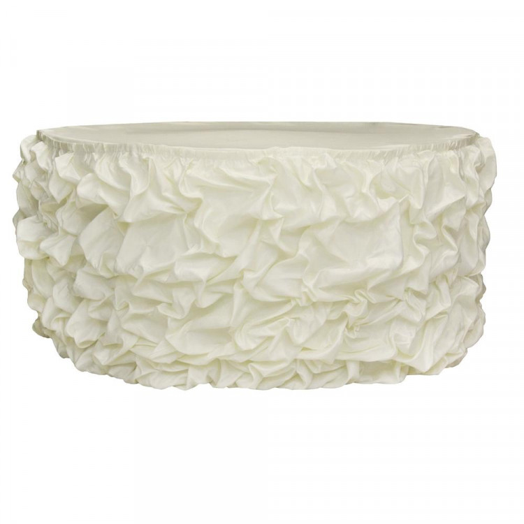 Ivory Satin Princess Table Skirt, 15'