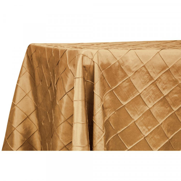 Gold, Pintuck Taffeta Floor Length Rectangular