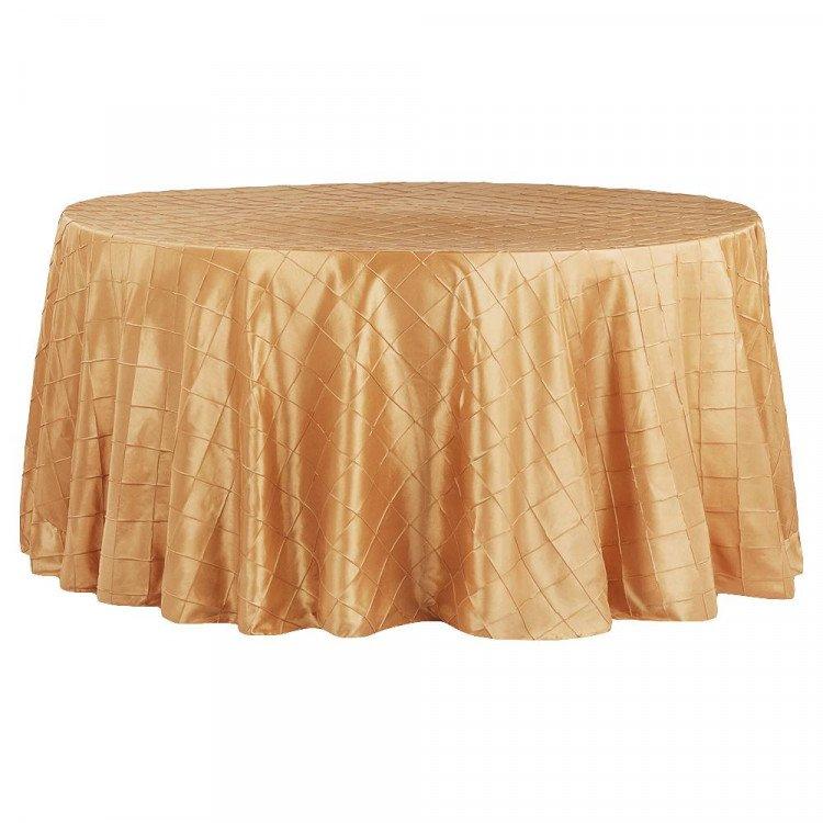 Gold, Pintuck Taffeta Floor Length Round