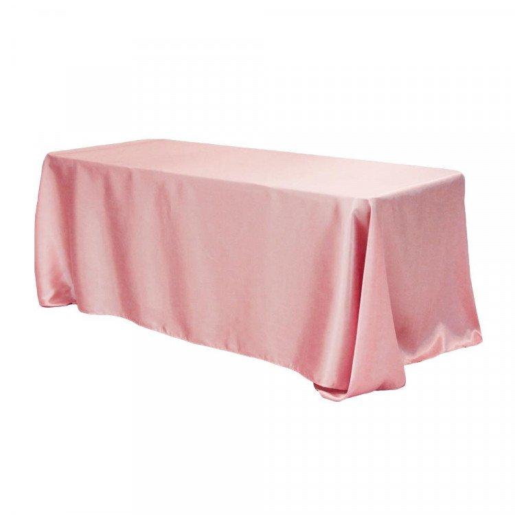 Pink, Dusty Rose Satin Floor Length Rectangle