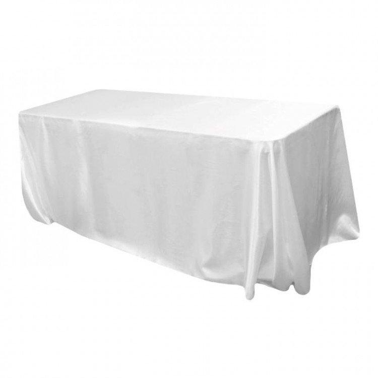 White, Satin Floor Length Rectangle