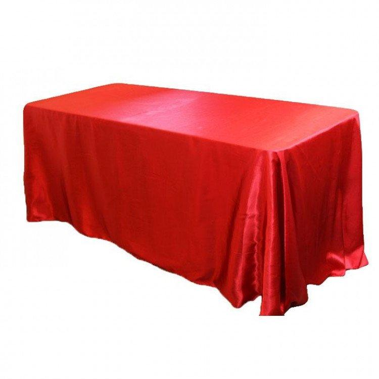 Red, Crimson Taffeta Floor Length Rectangle