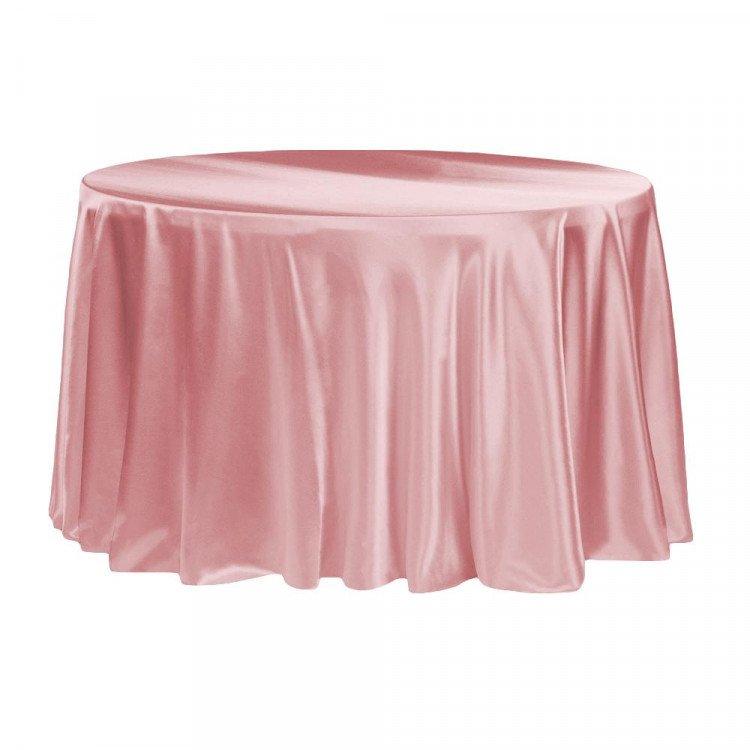 Pink, Dusty Rose Satin Floor Length Round