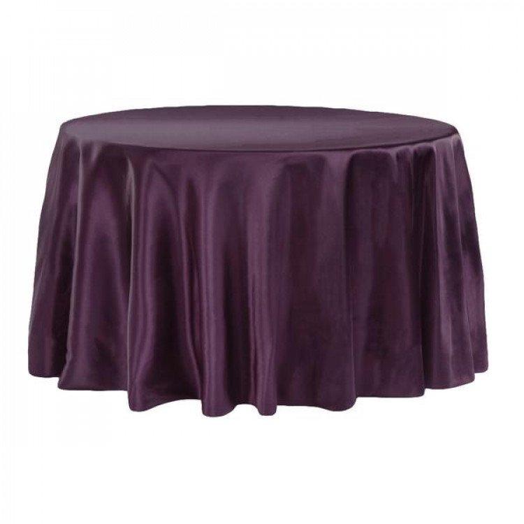 Purple, Plum Satin Floor Length Round