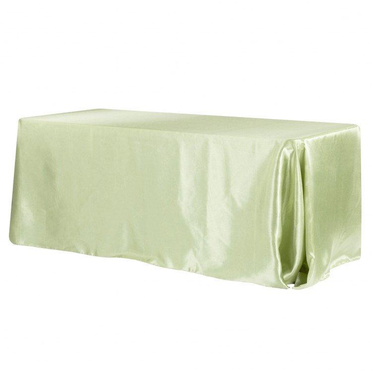 Green, Sage Satin Floor Length Rectangle