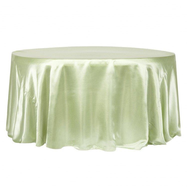 Green, Sage Satin Floor Length Round