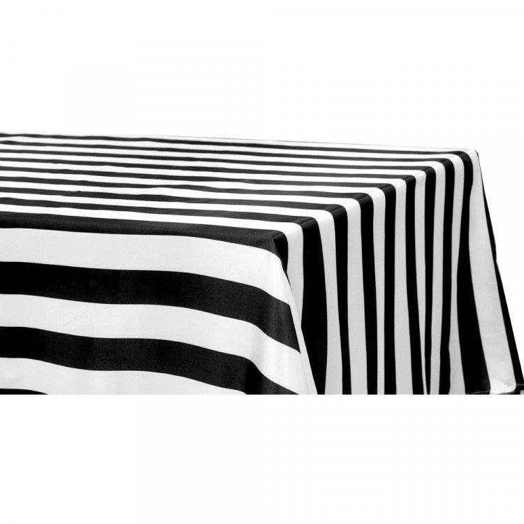 Black/White, Stripe Floor Length Rectangle