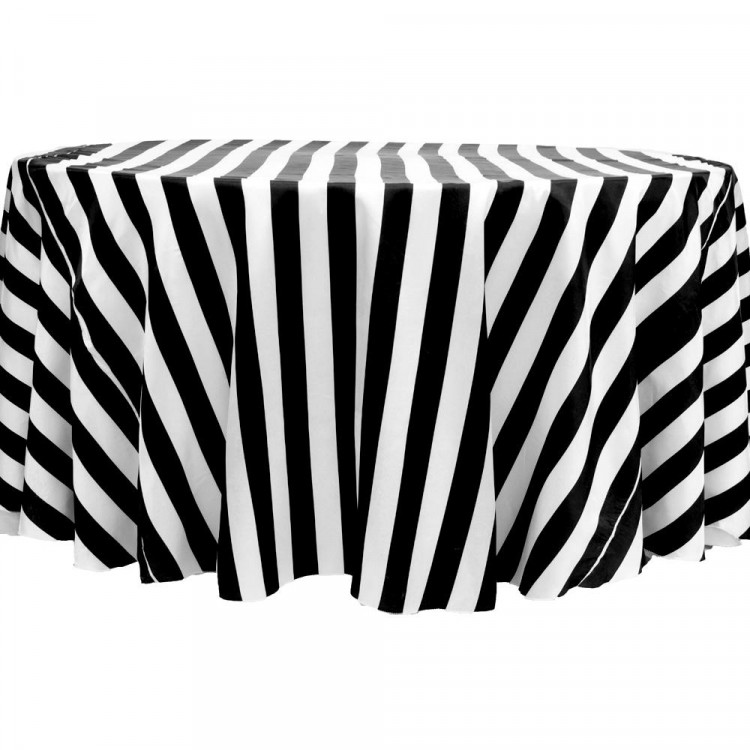 Black/White, Stripe Satin Floor Length Round