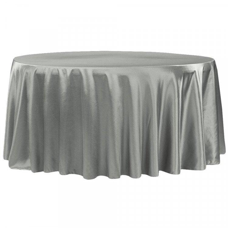 Silver, Taffeta Floor Length Round