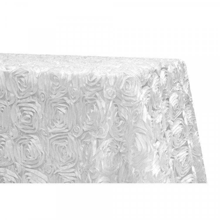 White, Satin Rosebud Floor Length Rectangle