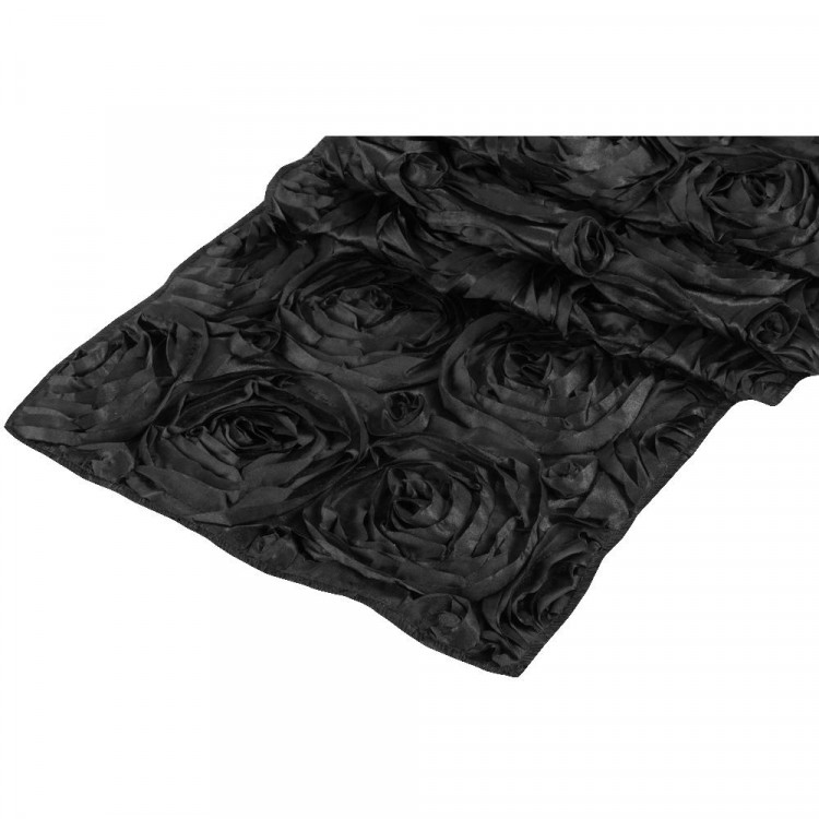 Black, Rosebud Satin Runner