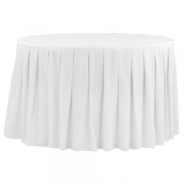 White Polyester Box Pleat Table Skirt