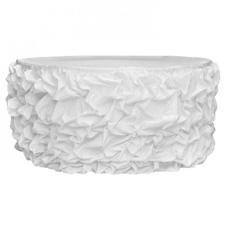 White Satin Princess Table Skirt, 15'