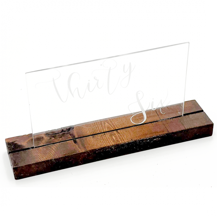 Wood and Acrylic Table Number