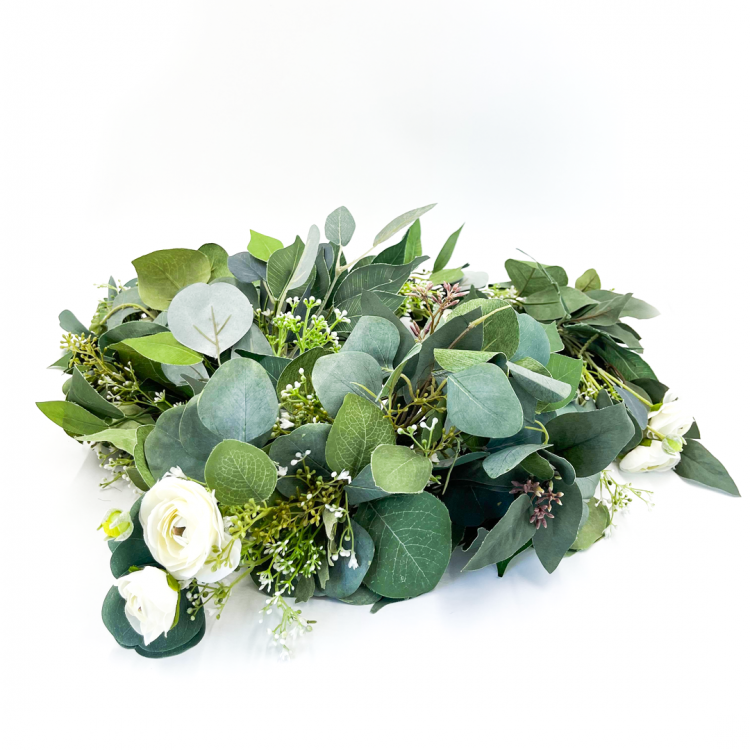 5' Greenery Garland with White Florals