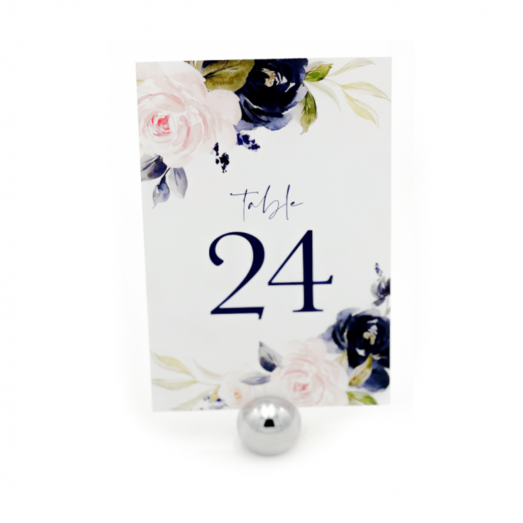 Navy Flowers Table Number