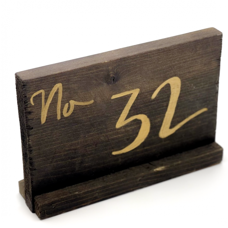 Wood with Gold Script Table Number