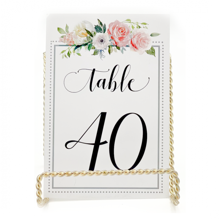 Blush Flowers with Border Table Number