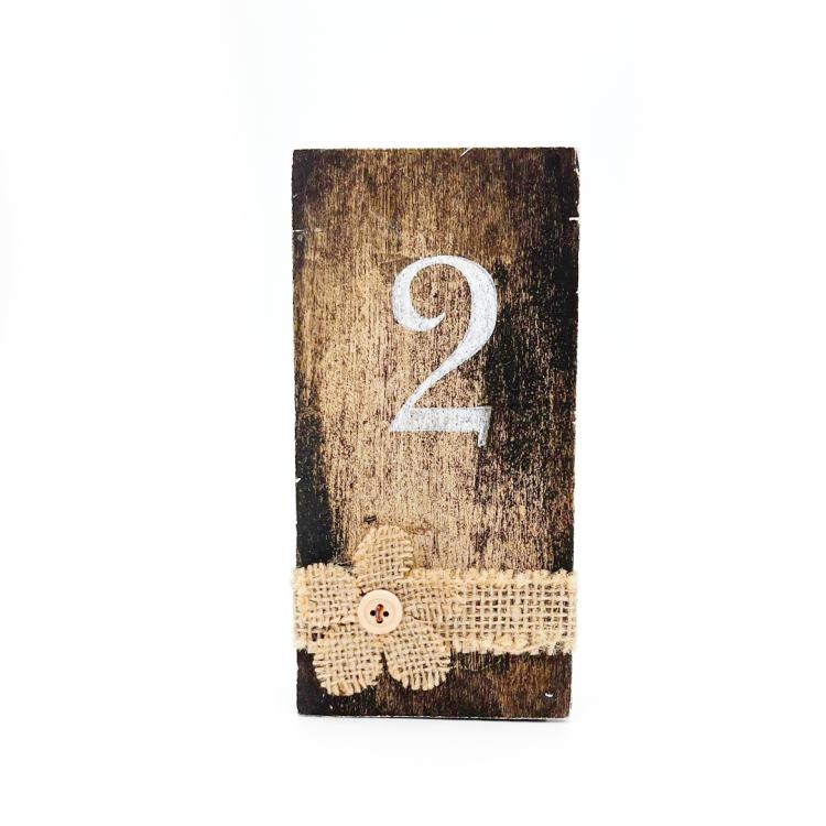 Wood + Burlap Table Numbers