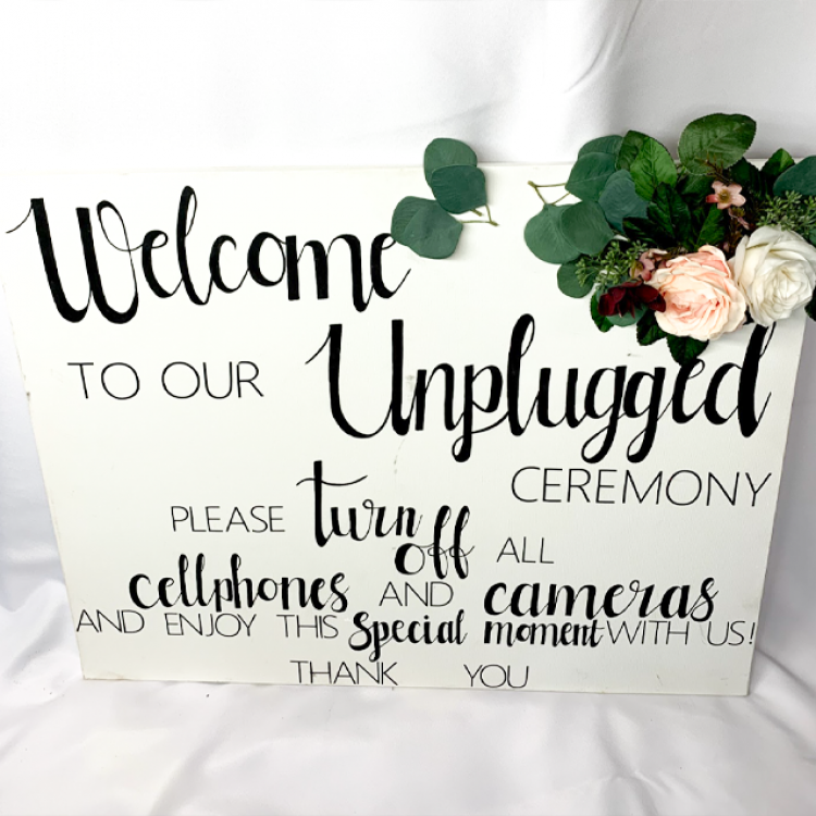 Unplugged Ceremony Sign, Canvas