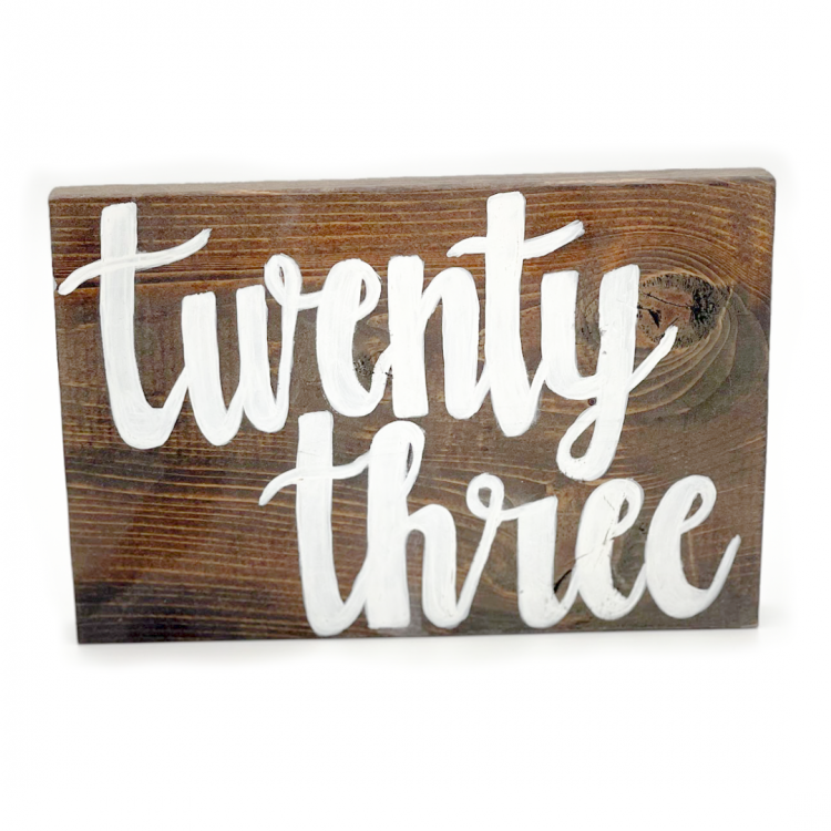 Wood with White Script Table Number