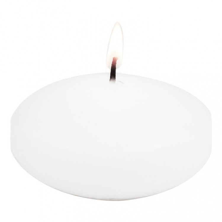 Floating Disc Candle, White